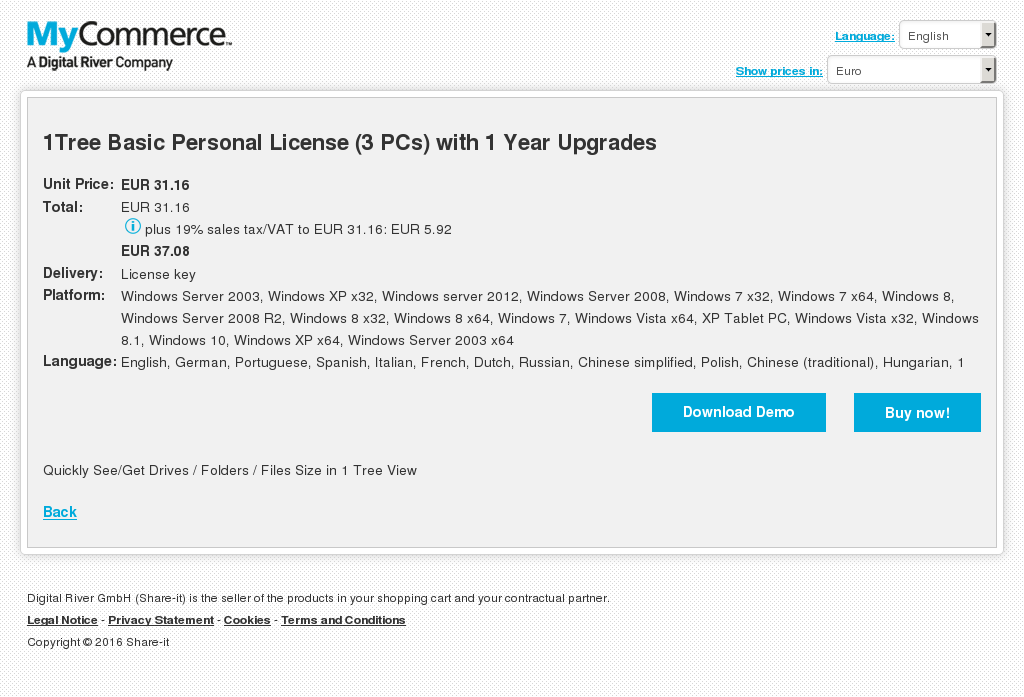 1Tree Basic Personal License (3 PCs) with 1 Year Upgrades