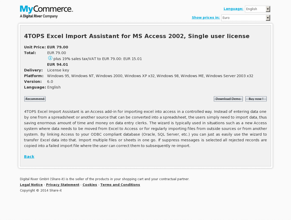 4TOPS Excel Import Assistant for MS Access 2002, Single user license