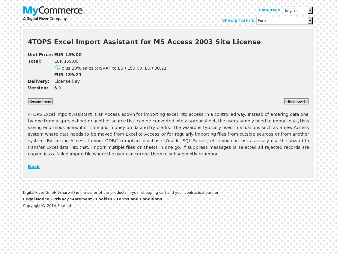 4TOPS Excel Import Assistant for MS Access 2003 Site License