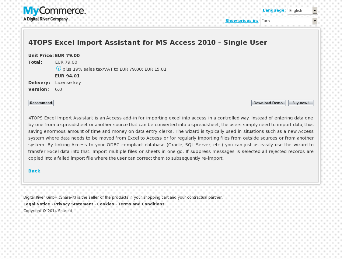 4TOPS Excel Import Assistant for MS Access 2010 - Single User