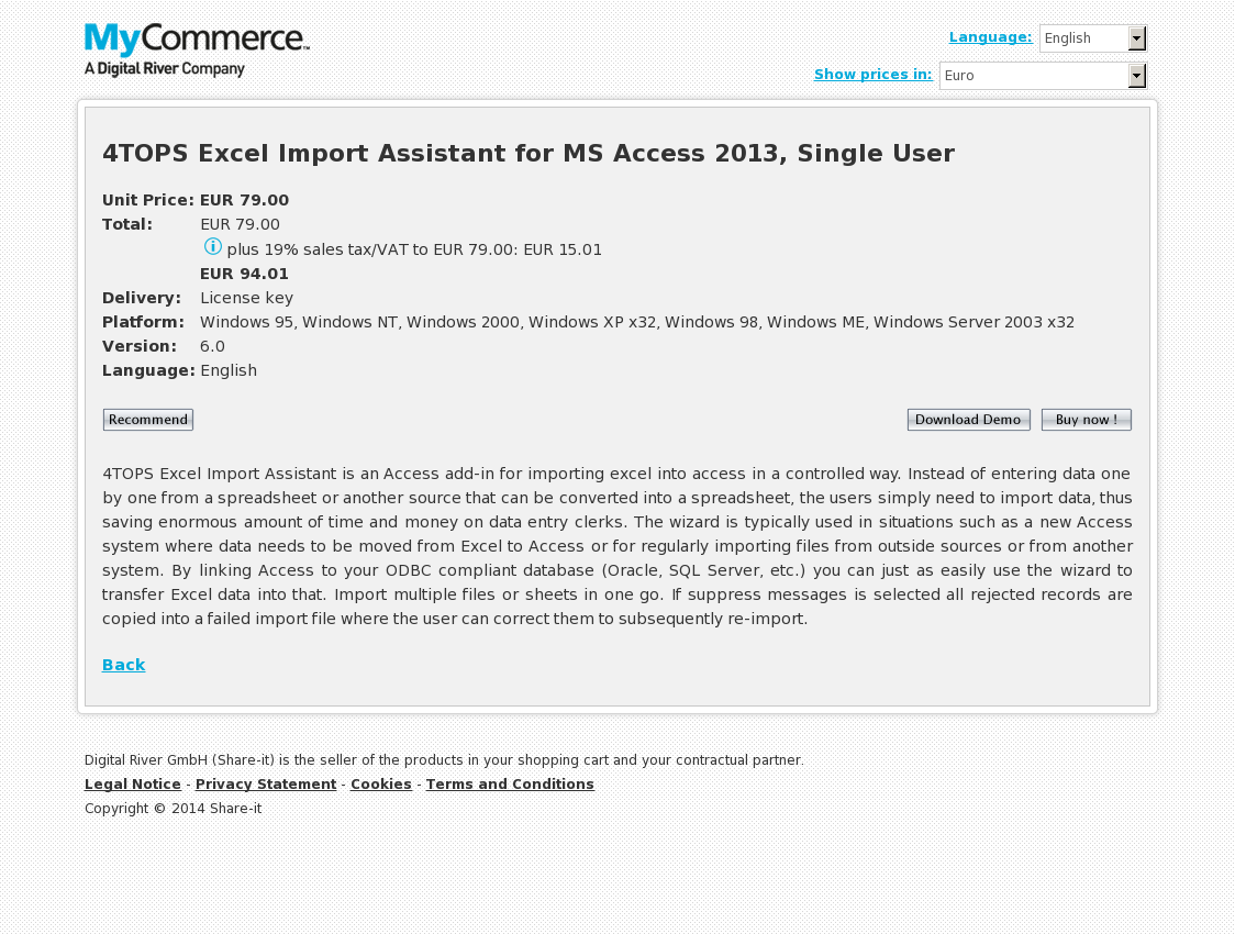 4TOPS Excel Import Assistant for MS Access 2013, Single User