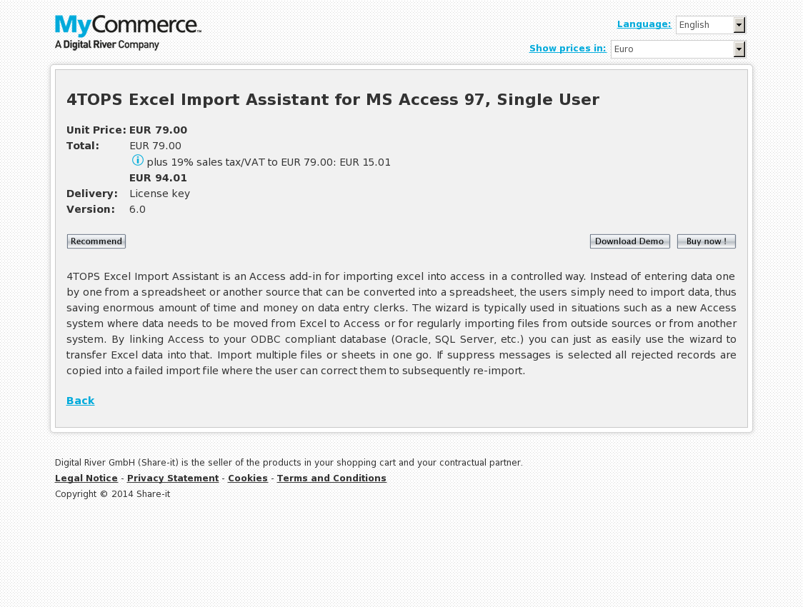 4TOPS Excel Import Assistant for MS Access 97, Single User