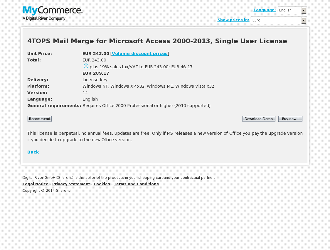 4TOPS Mail Merge for Microsoft Access 2000-2013, Single User License