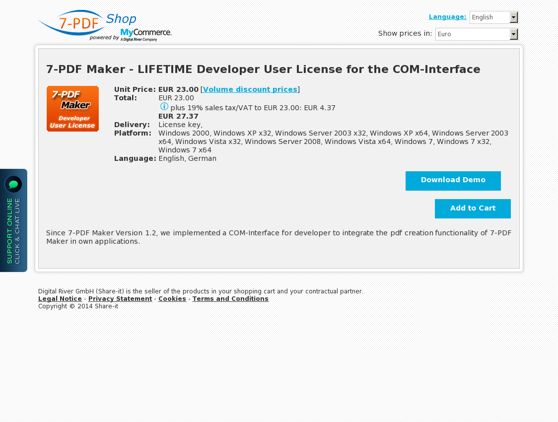 7-PDF Maker - LIFETIME Developer User License for the COM-Interface