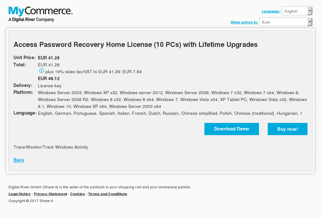 Access Password Recovery Home License (10 PCs) with Lifetime Upgrades