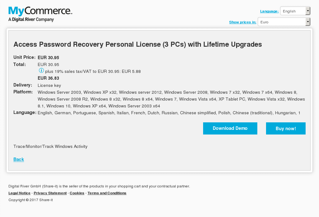 Access Password Recovery Personal License (3 PCs) with Lifetime Upgrades
