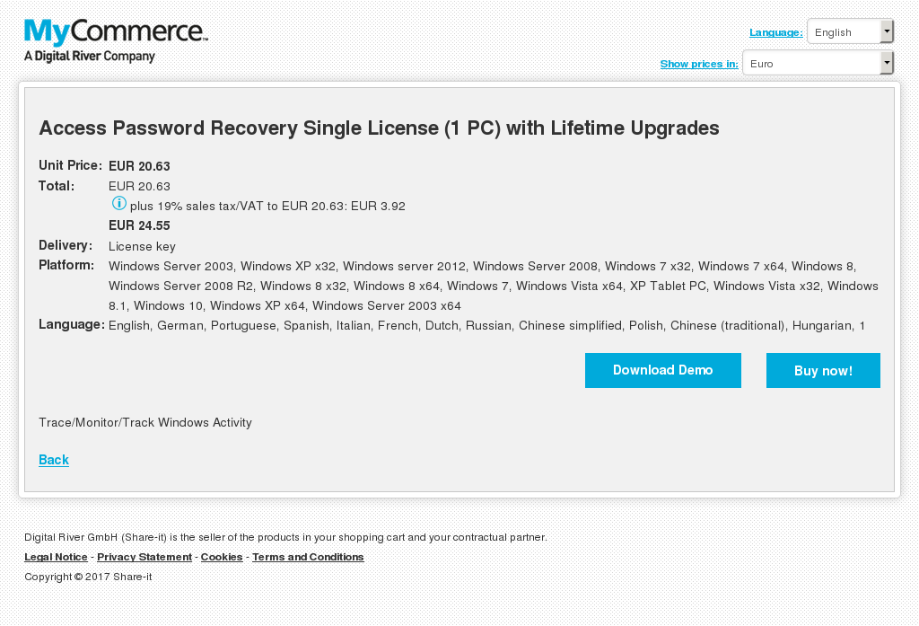 Access Password Recovery Single License (1 PC) with Lifetime Upgrades