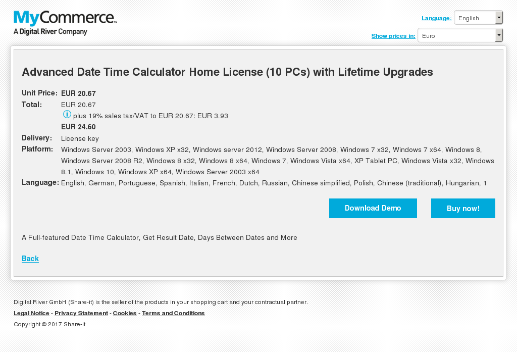 Advanced Date Time Calculator Home License (10 PCs) with Lifetime Upgrades