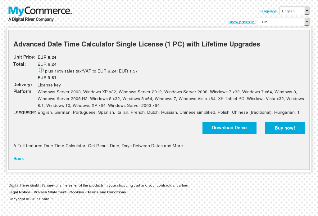 Advanced Date Time Calculator Single License (1 PC) with Lifetime Upgrades