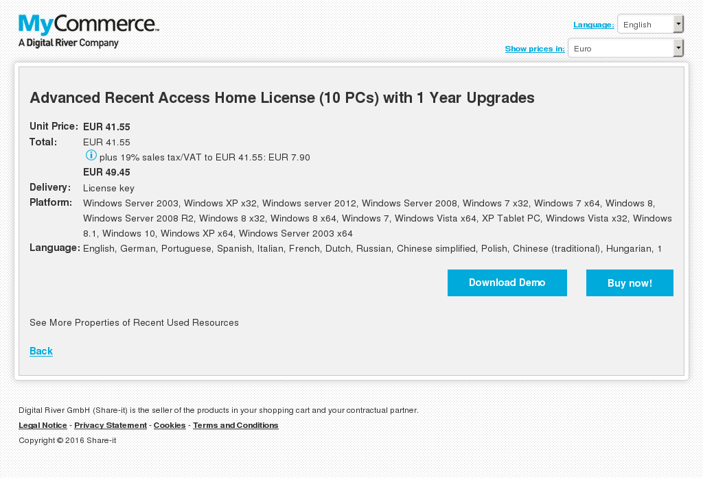 Advanced Recent Access Home License (10 PCs) with 1 Year Upgrades