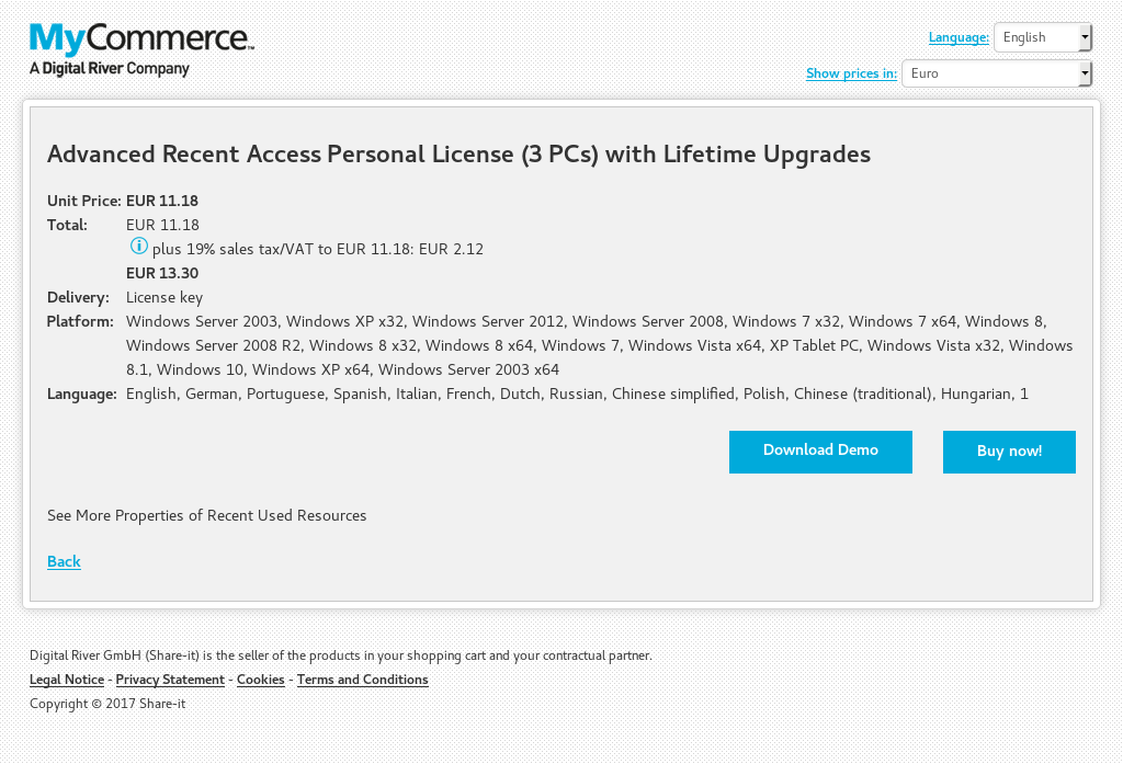 Advanced Recent Access Personal License (3 PCs) with Lifetime Upgrades