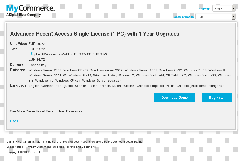 Advanced Recent Access Single License (1 PC) with 1 Year Upgrades