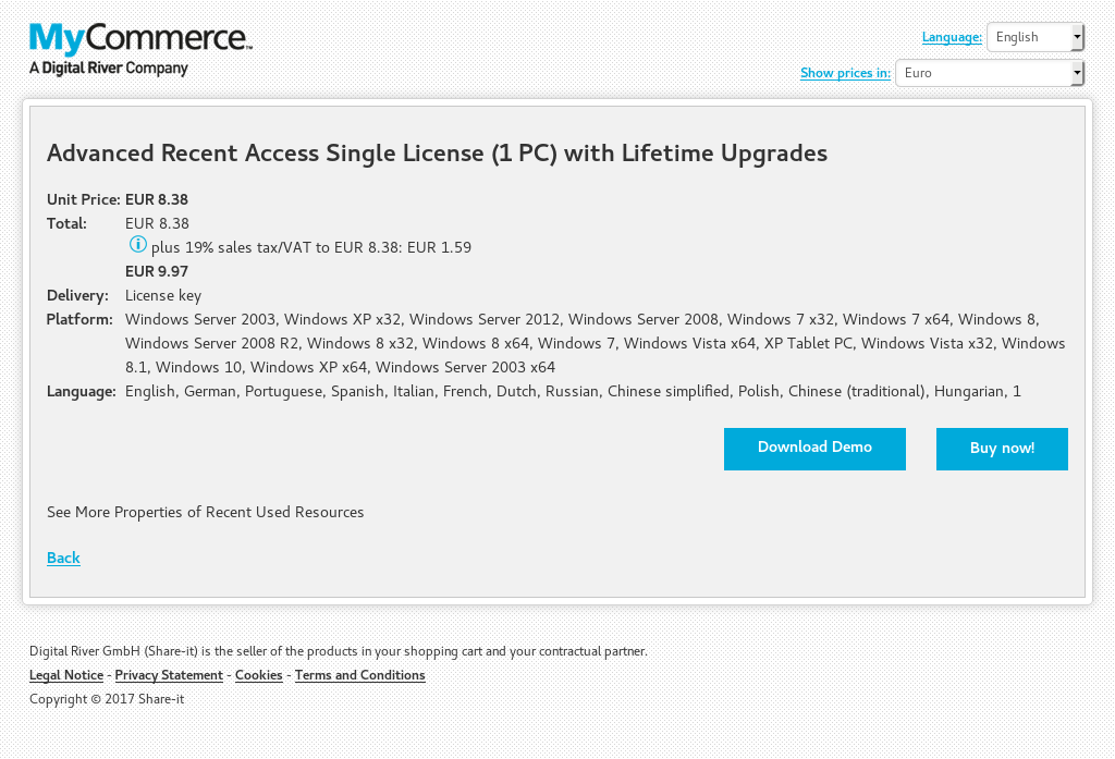 Advanced Recent Access Single License (1 PC) with Lifetime Upgrades