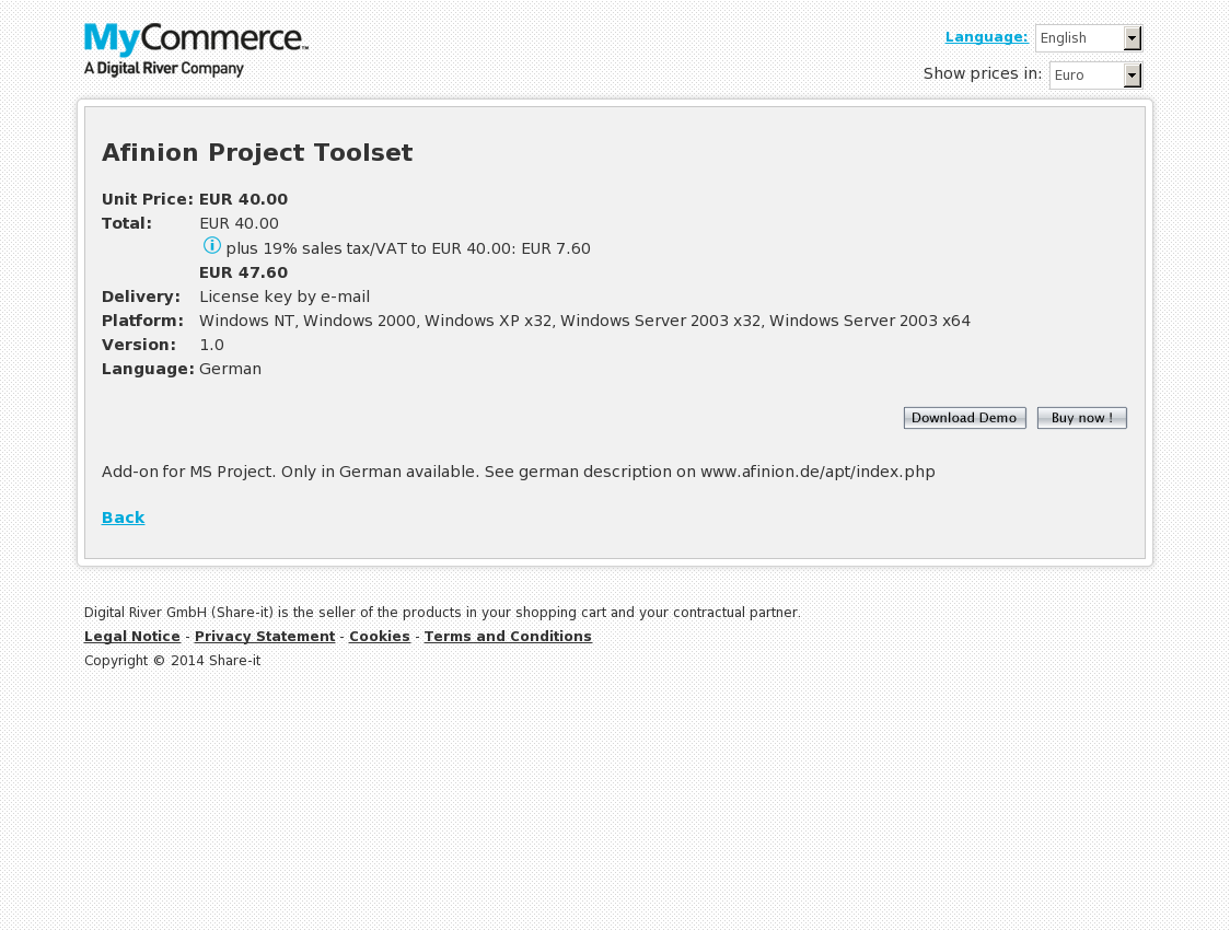 Afinion Project Toolset