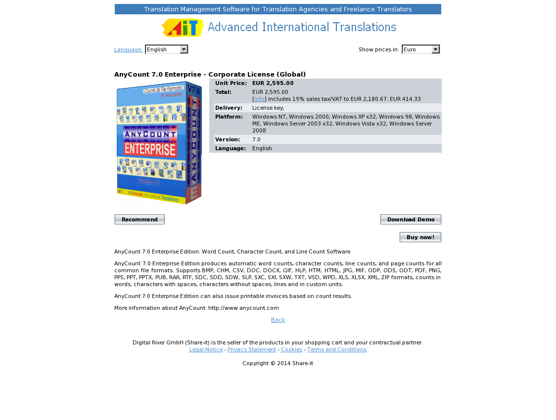 AnyCount 7.0 Enterprise - Corporate License (Global)