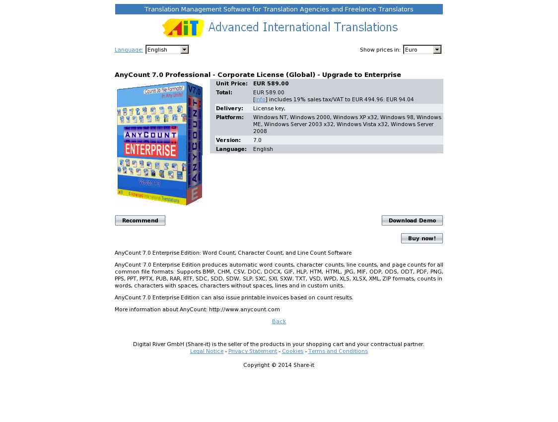 AnyCount 7.0 Professional - Corporate License (Global) - Upgrade to Enterprise