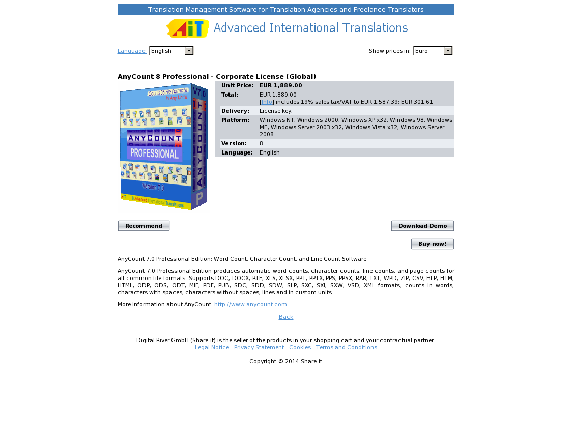 AnyCount 8 Professional - Corporate License (Global)