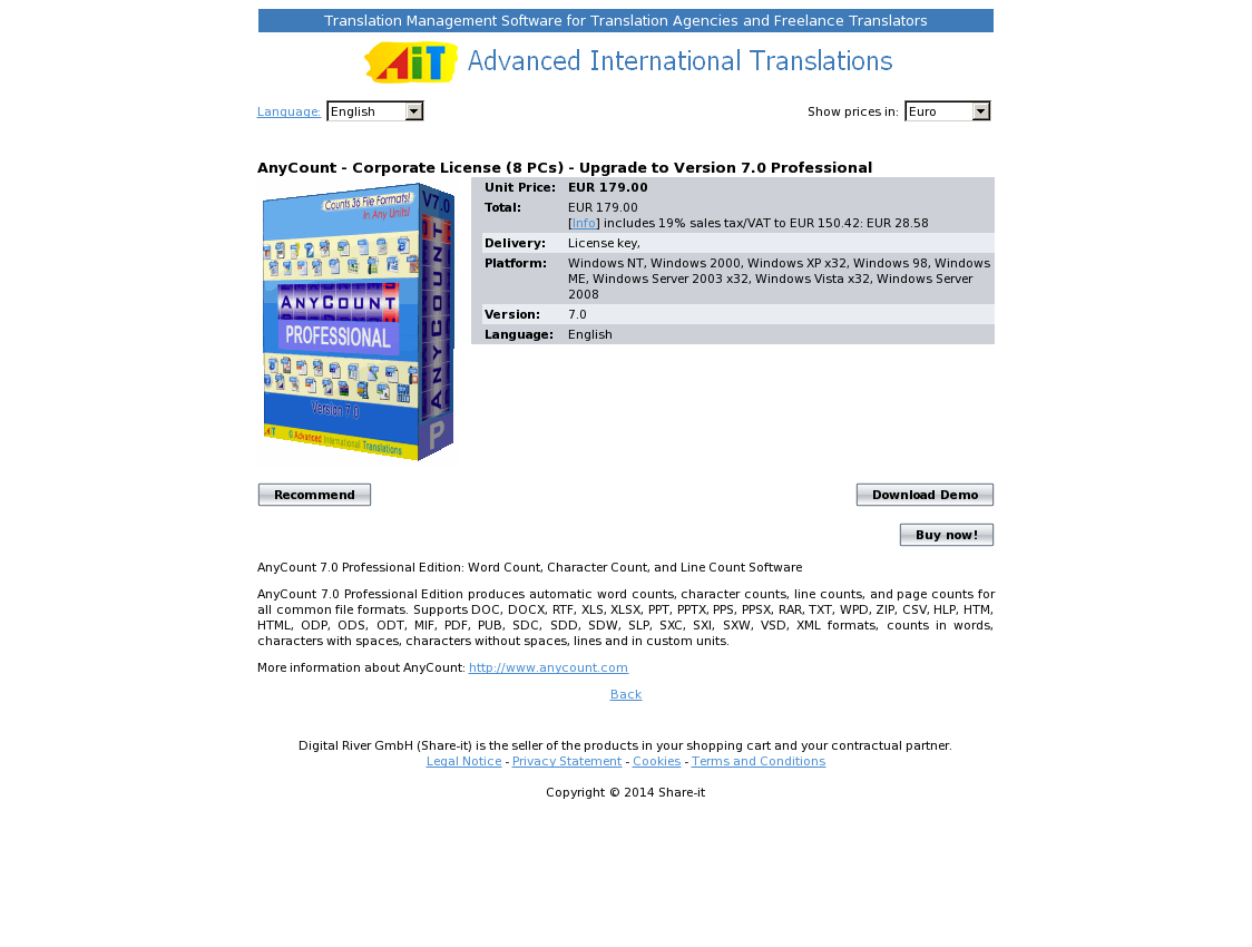AnyCount - Corporate License (8 PCs) - Upgrade to Version 7.0 Professional