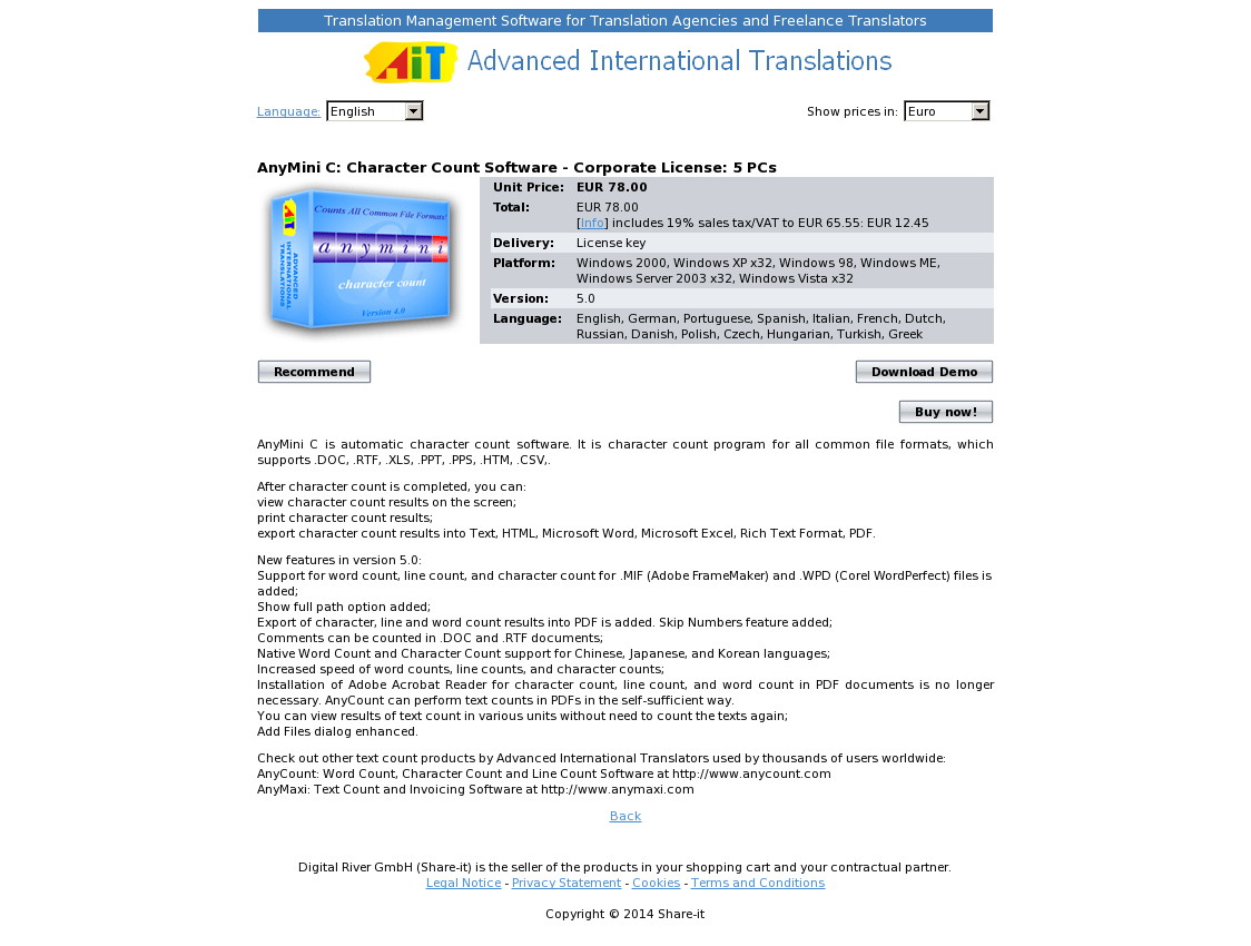 AnyMini C: Character Count Software - Corporate License: 5 PCs