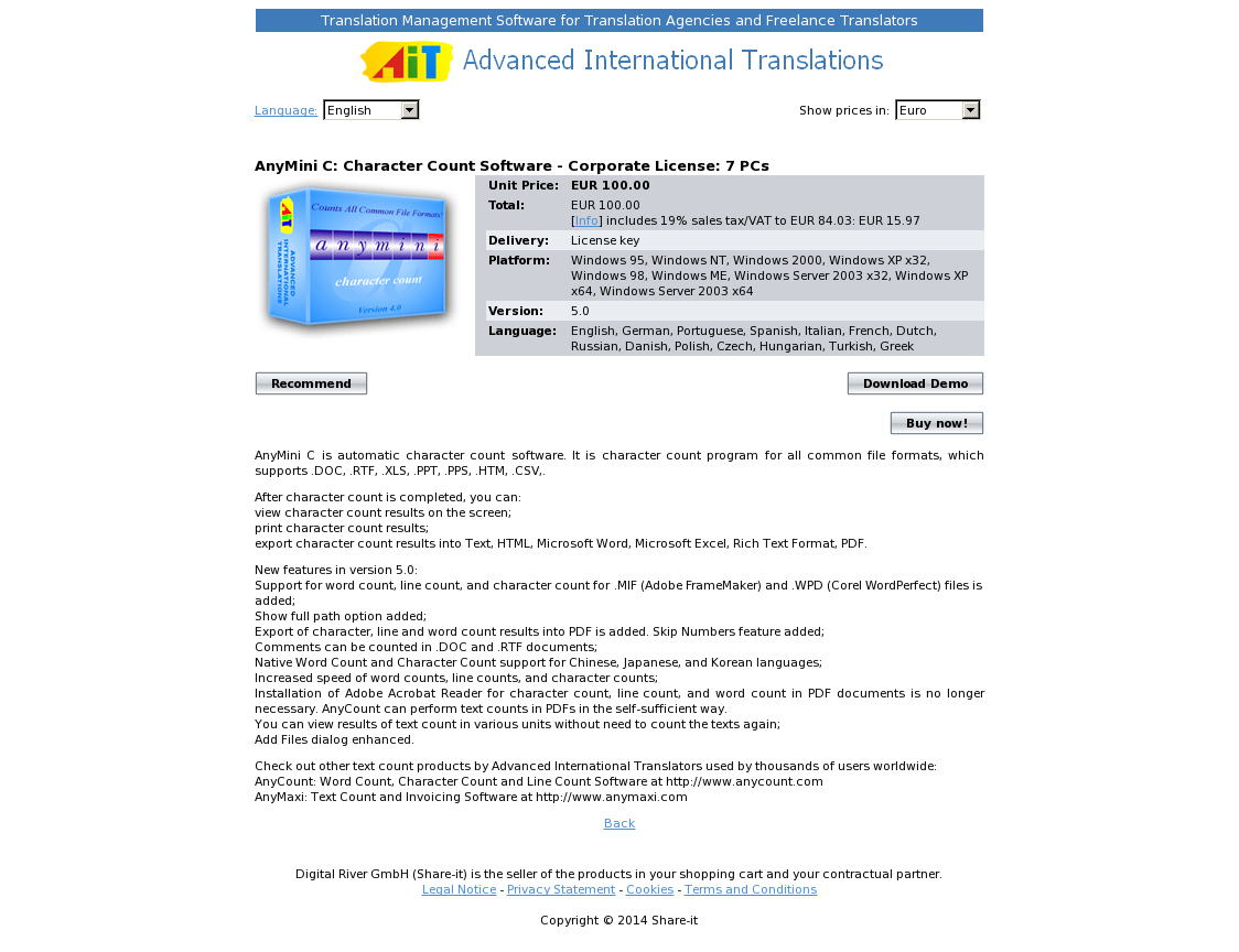 AnyMini C: Character Count Software - Corporate License: 7 PCs