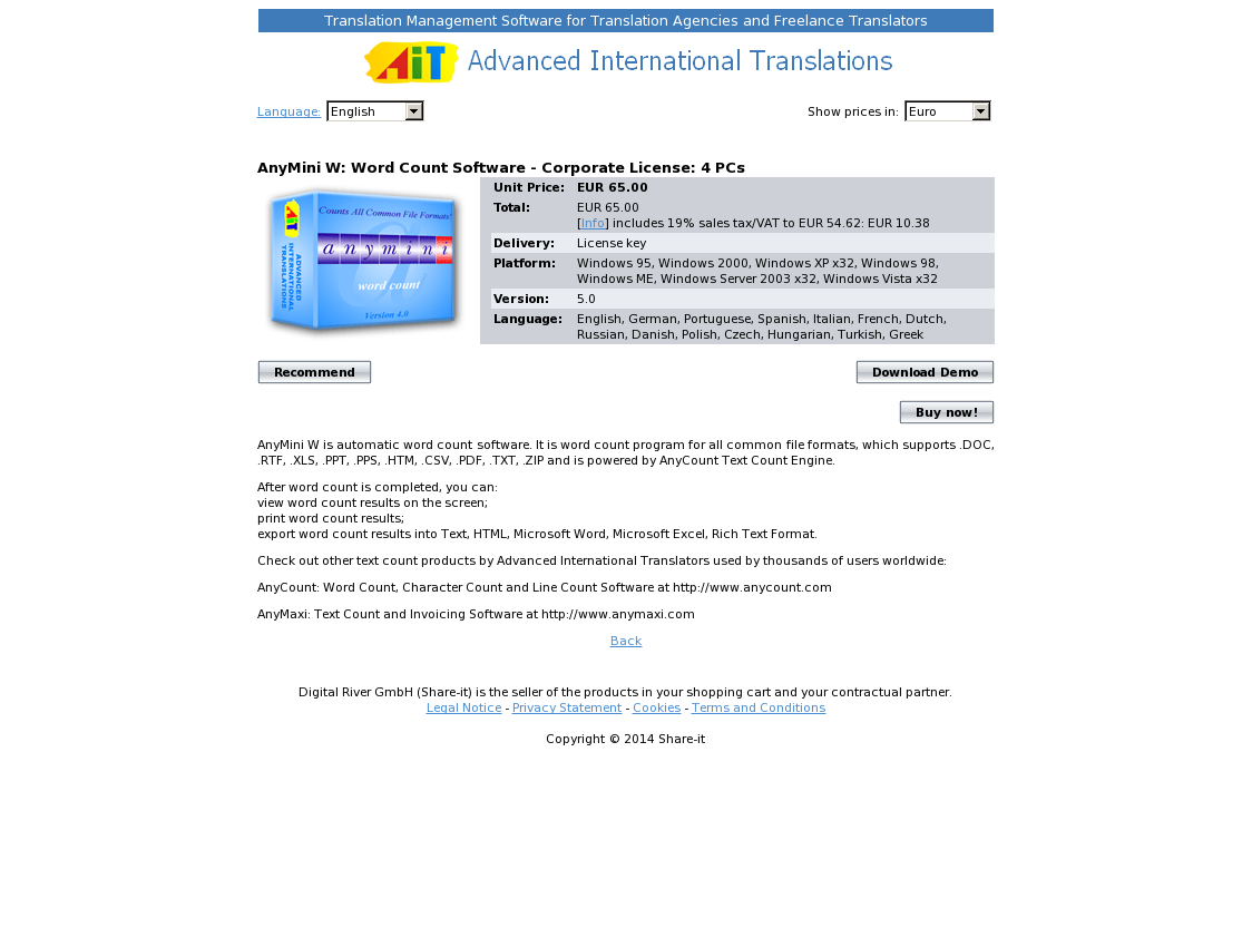 AnyMini W: Word Count Software - Corporate License: 4 PCs