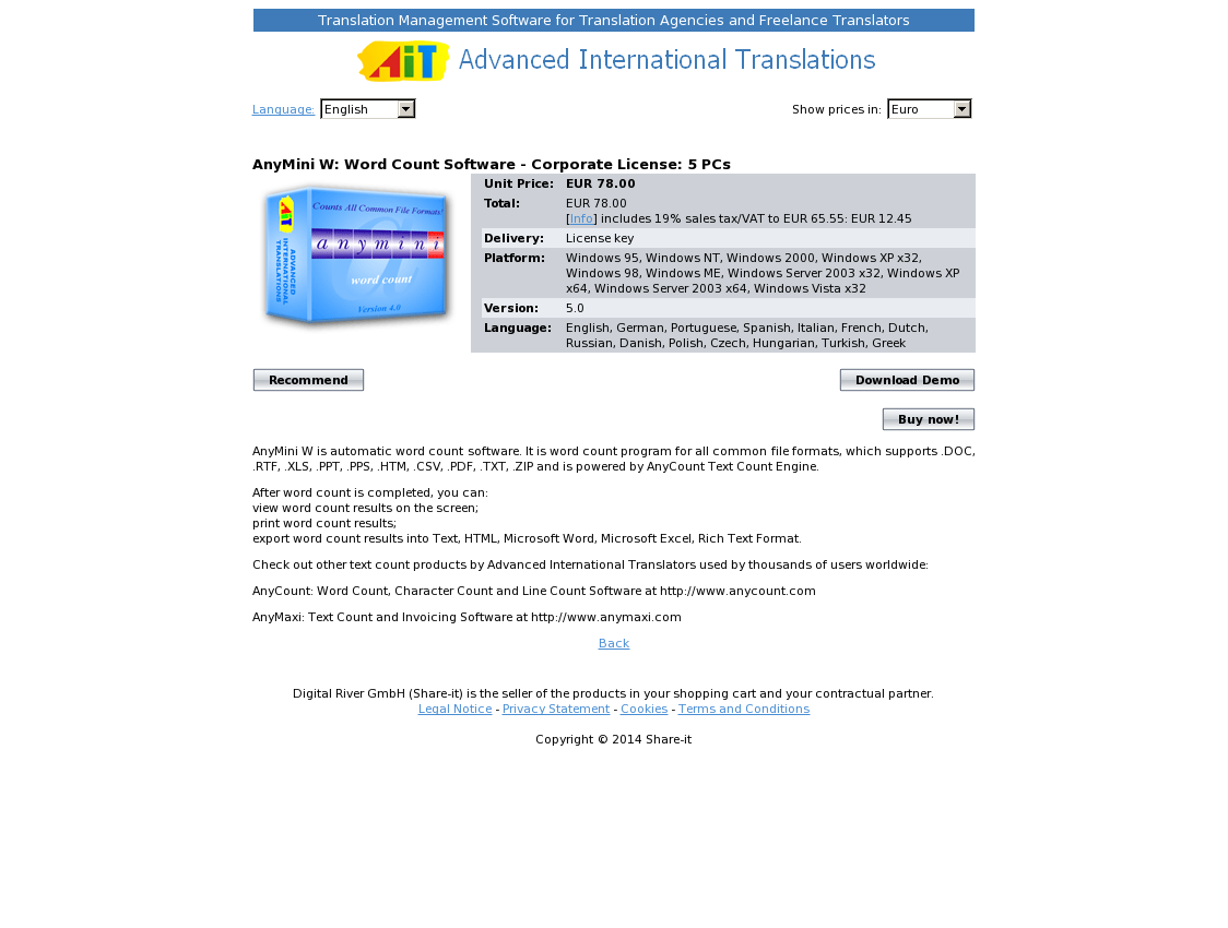 AnyMini W: Word Count Software - Corporate License: 5 PCs