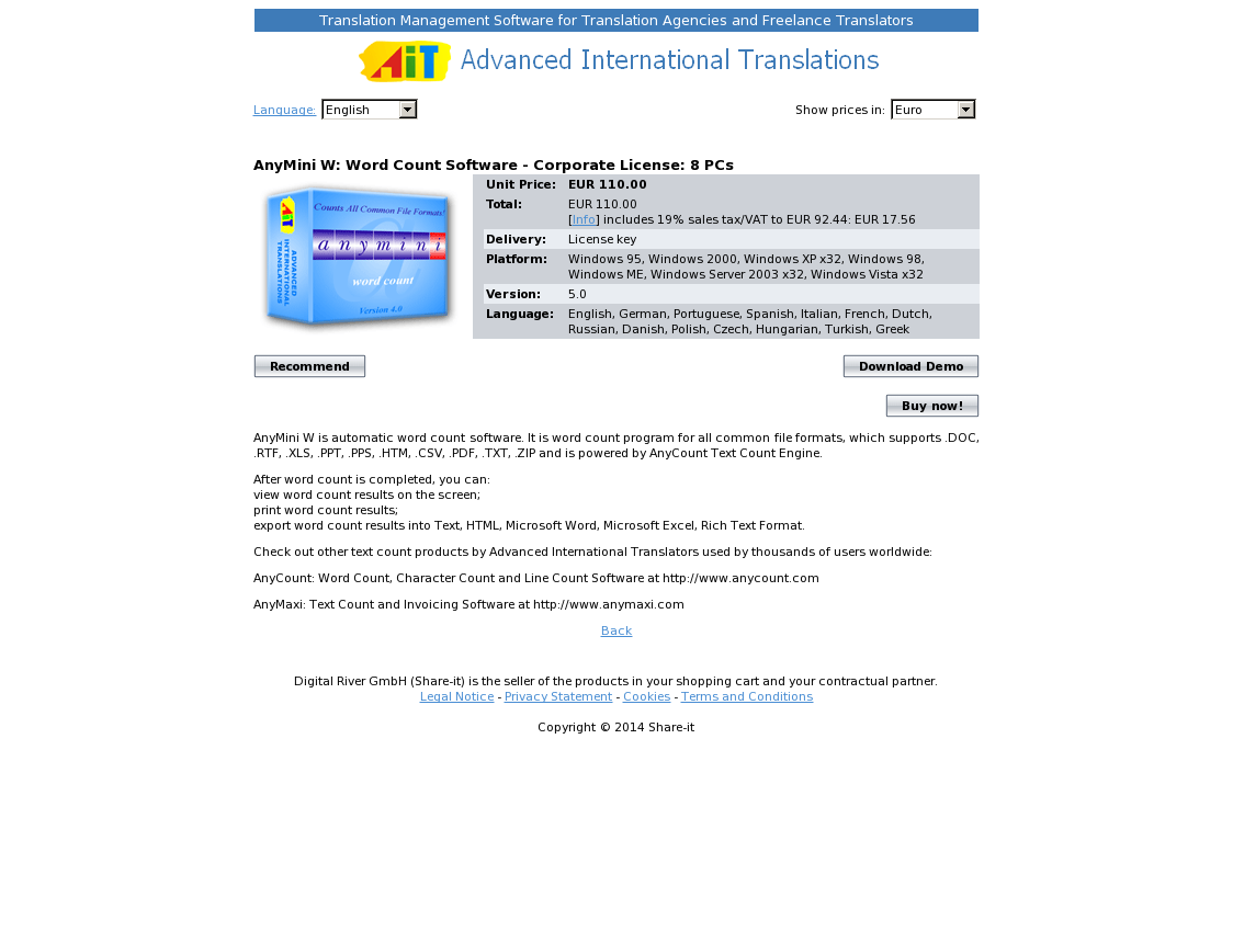 AnyMini W: Word Count Software - Corporate License: 8 PCs