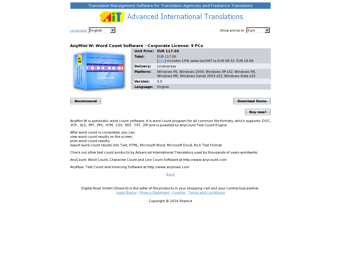 AnyMini W: Word Count Software - Corporate License: 9 PCs