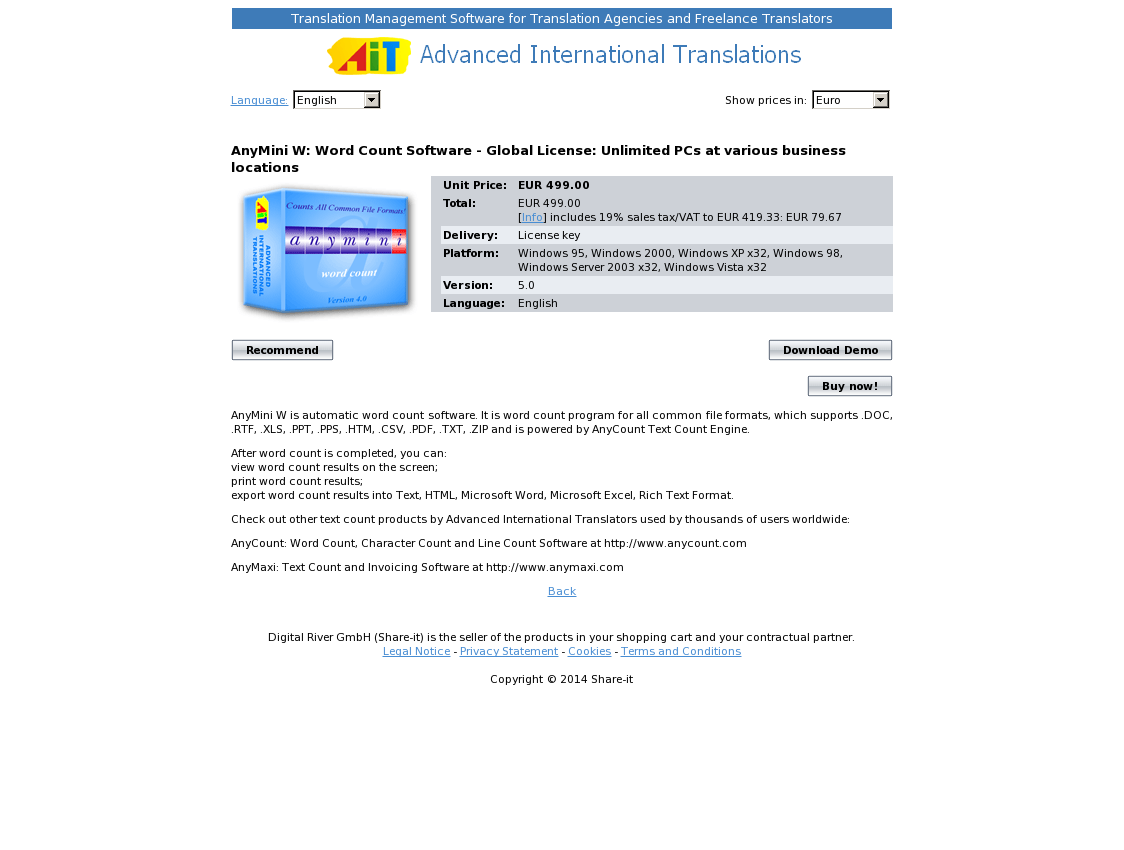 AnyMini W: Word Count Software - Global License: Unlimited PCs at various business locations