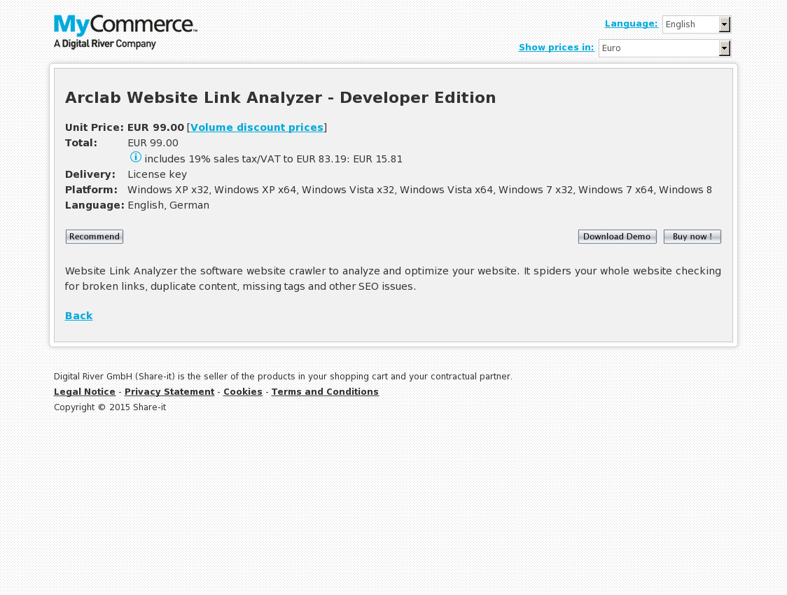 Arclab Website Link Analyzer - Developer Edition