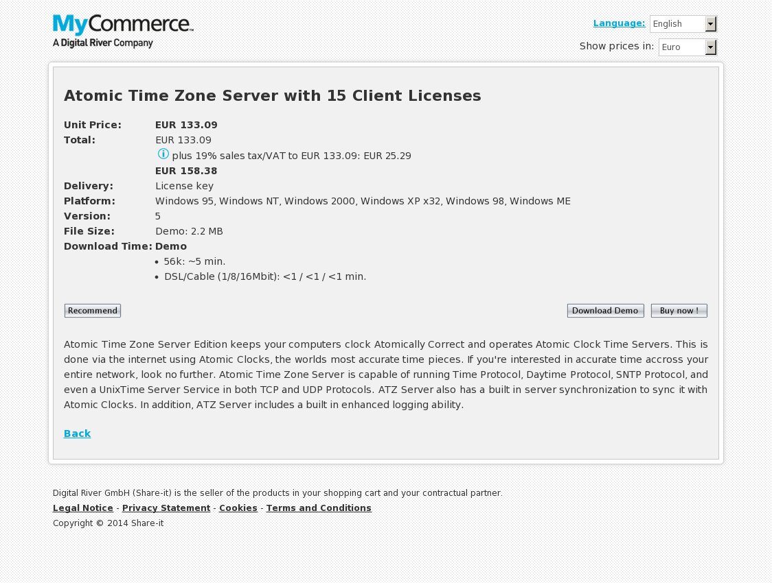 Atomic Time Zone Server with 15 Client Licenses