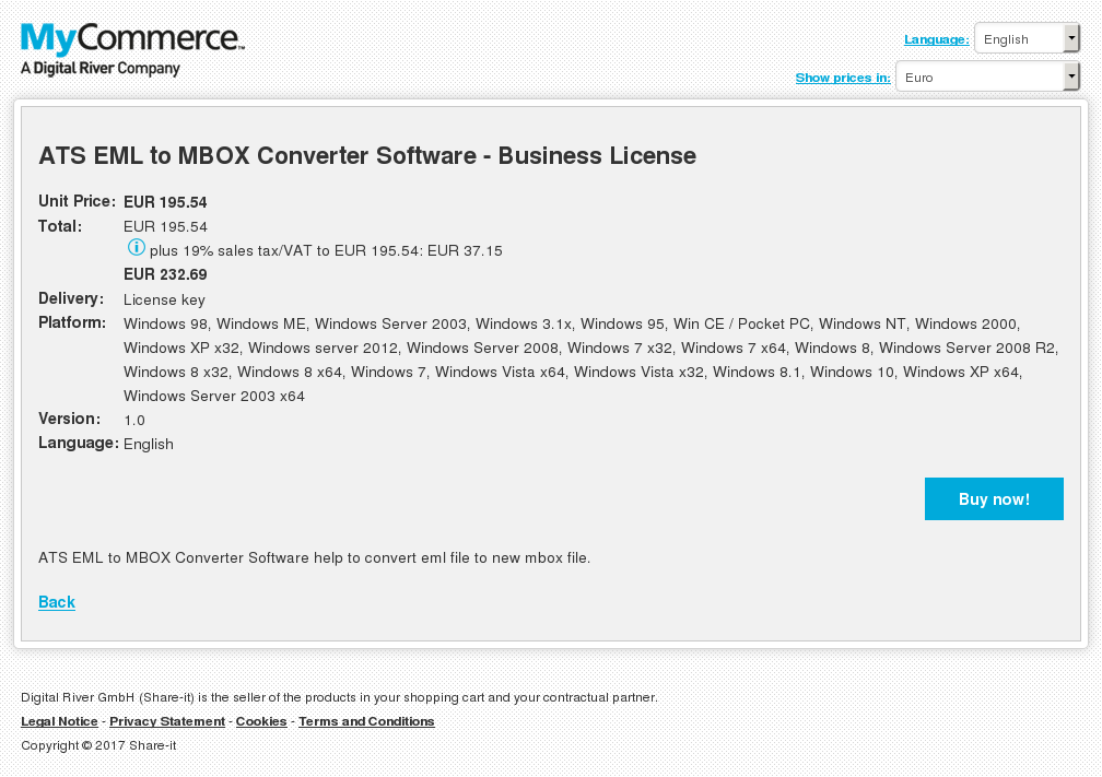 ATS EML to MBOX Converter Software - Business License