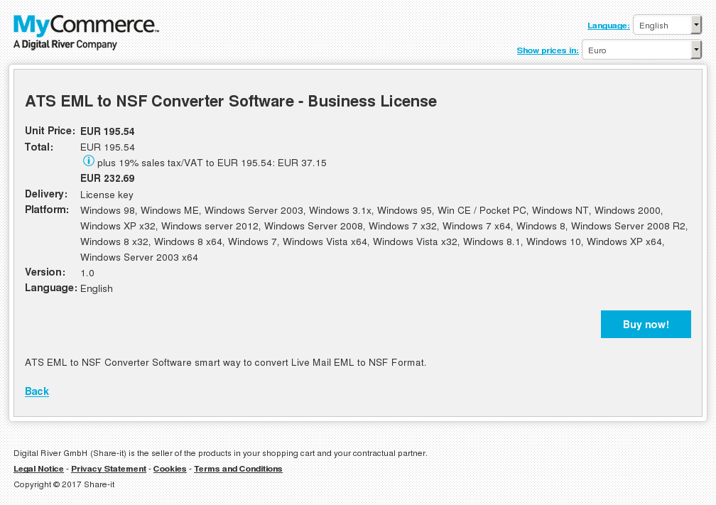 ATS EML to NSF Converter Software - Business License