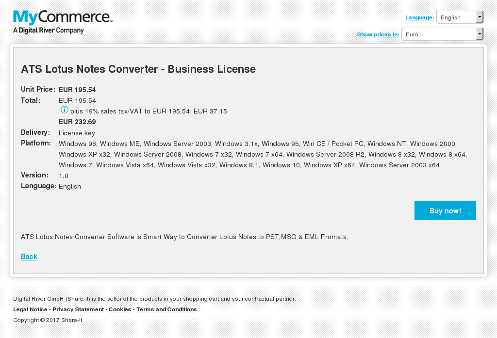 ATS Lotus Notes Converter - Business License