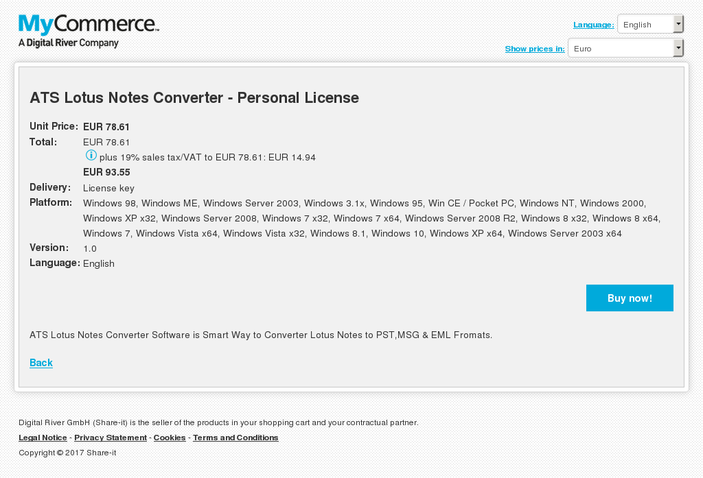 ATS Lotus Notes Converter - Personal License