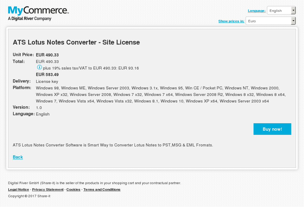 ATS Lotus Notes Converter - Site License