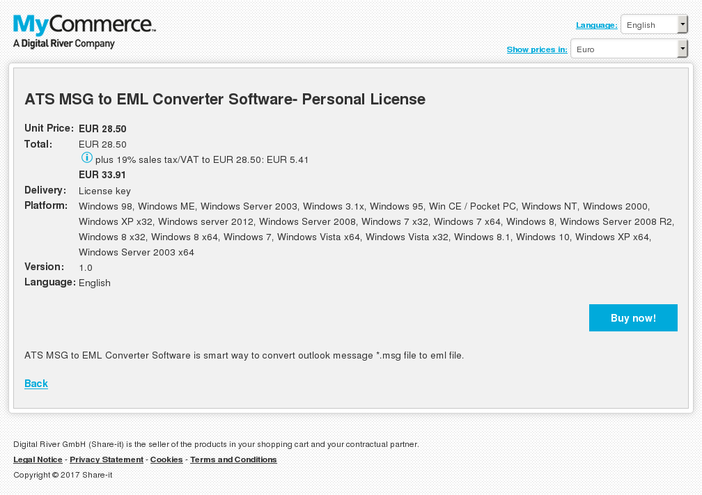 ATS MSG to EML Converter Software- Personal License