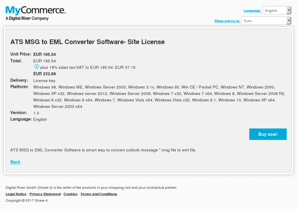 ATS MSG to EML Converter Software- Site License