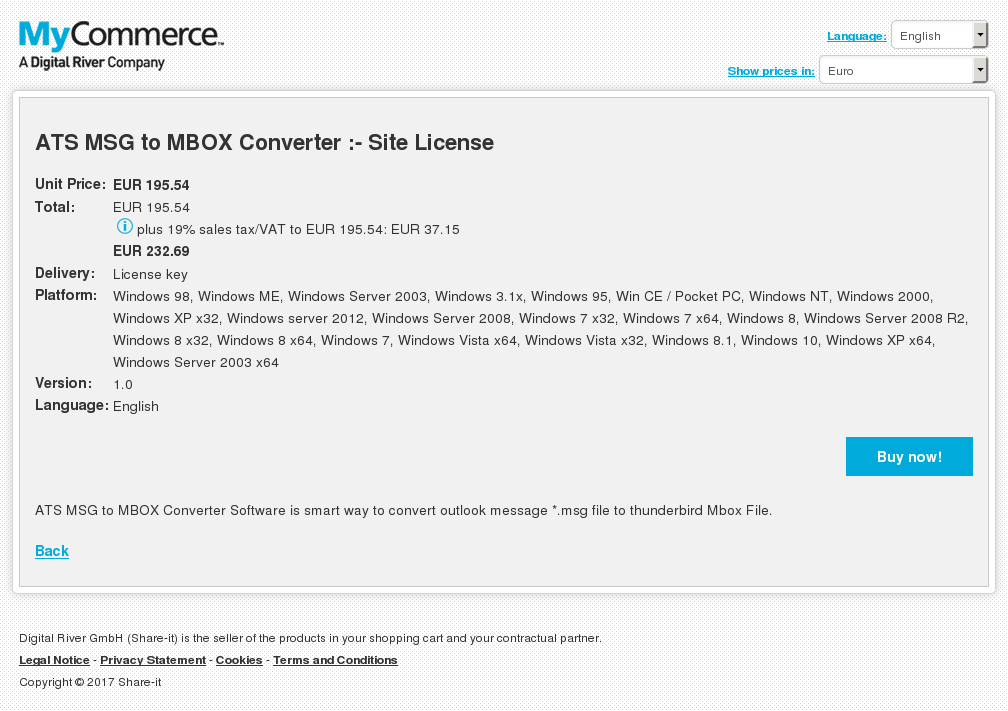 ATS MSG to MBOX Converter :- Site License
