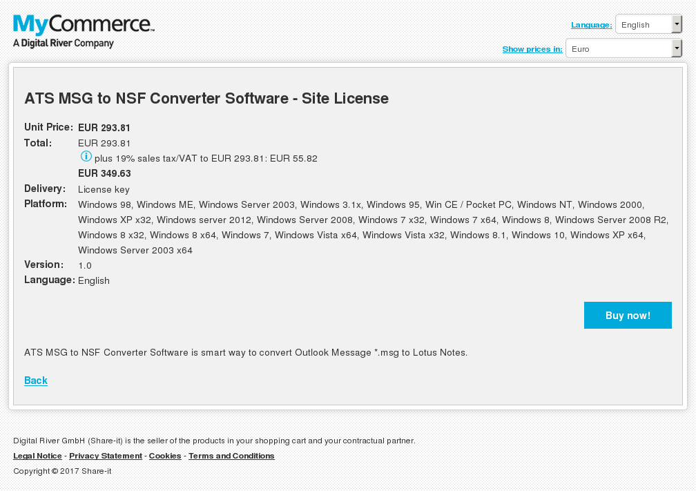 ATS MSG to NSF Converter Software - Site License