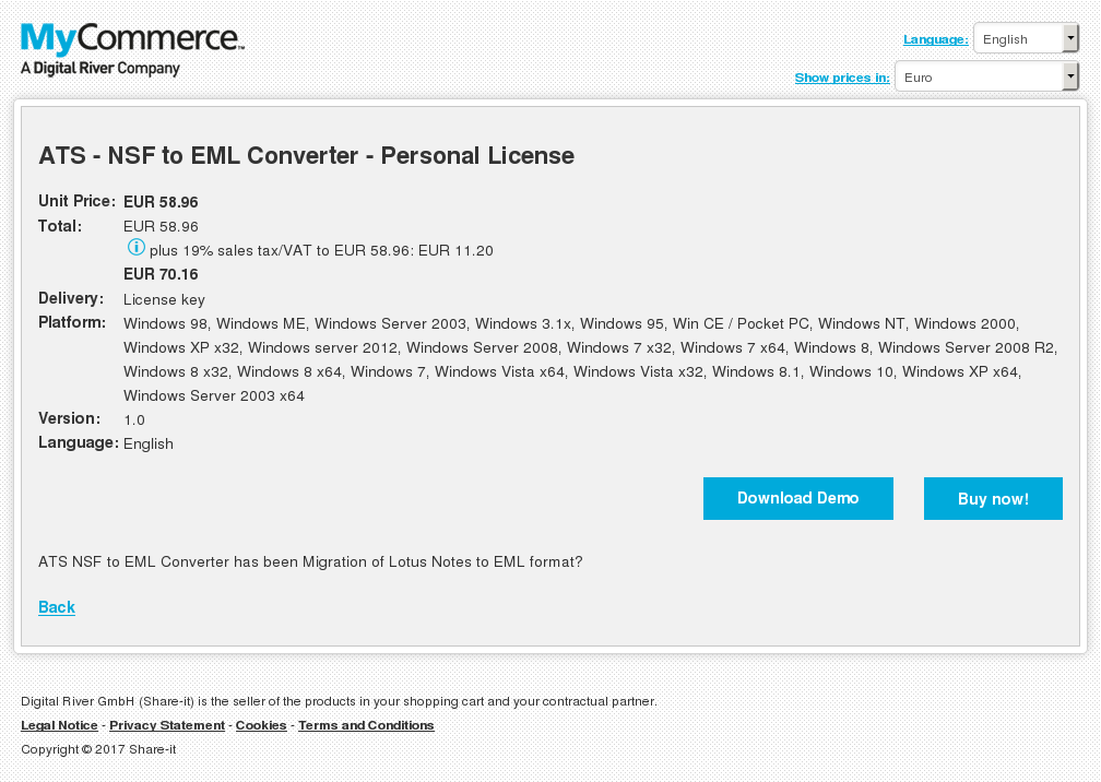 ATS - NSF to EML Converter - Personal License