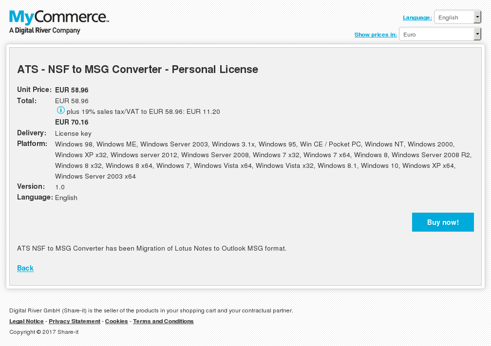 ATS - NSF to MSG Converter - Personal License