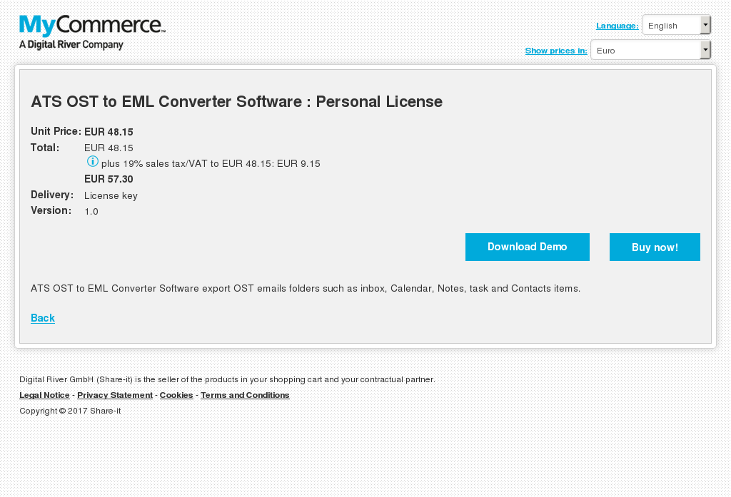 ATS OST to EML Converter Software : Personal License