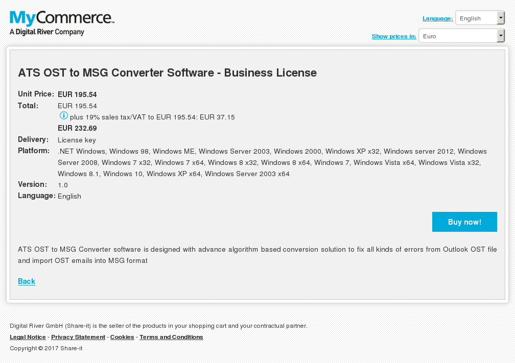 ATS OST to MSG Converter Software - Business License