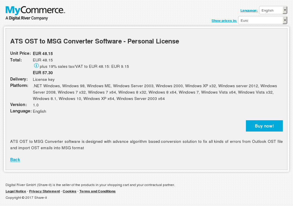 ATS OST to MSG Converter Software - Personal License