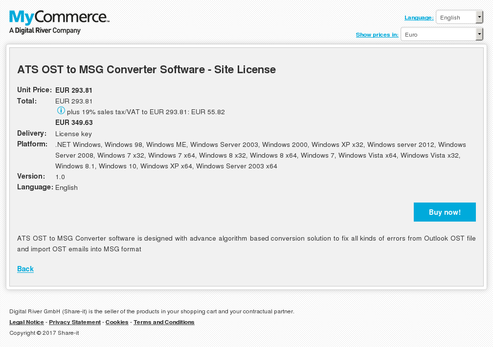 ATS OST to MSG Converter Software - Site License