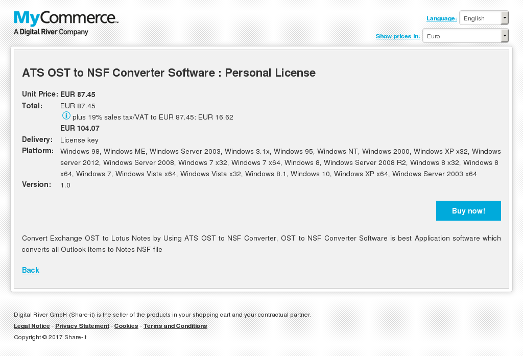 ATS OST to NSF Converter Software : Personal License