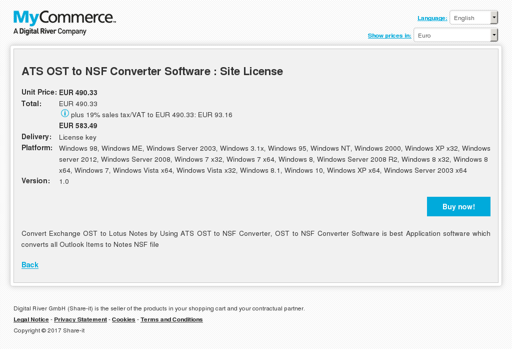 ATS OST to NSF Converter Software : Site License