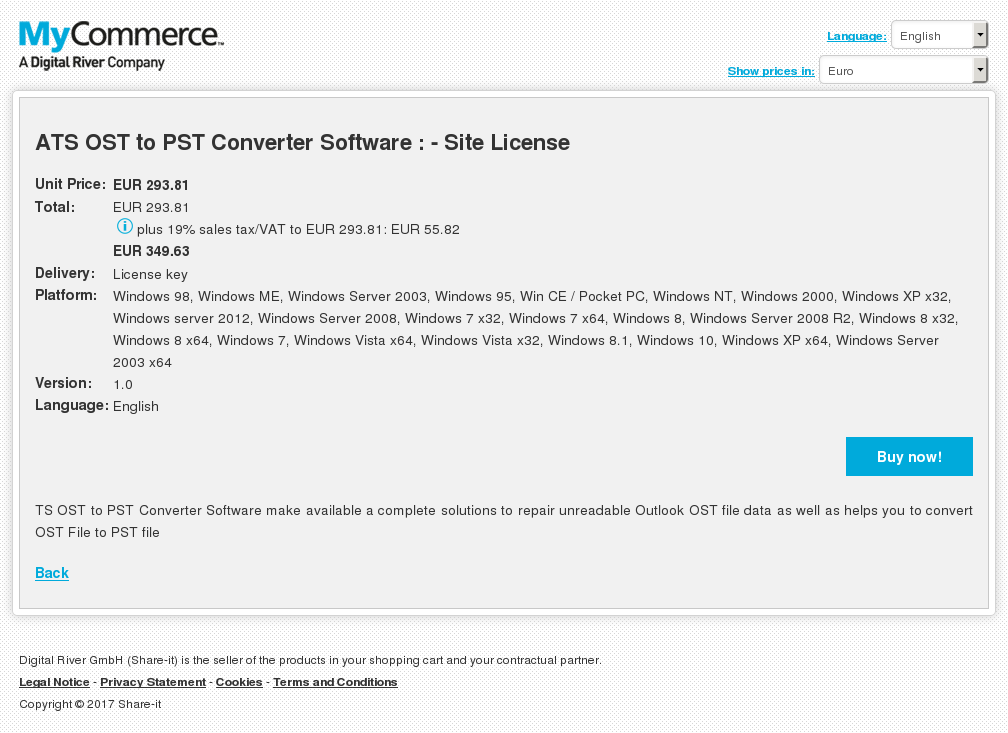 ATS OST to PST Converter Software : - Site License
