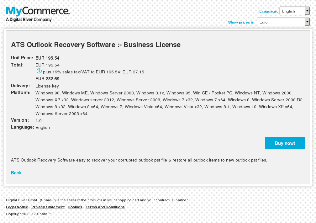 ATS Outlook Recovery Software :- Business License